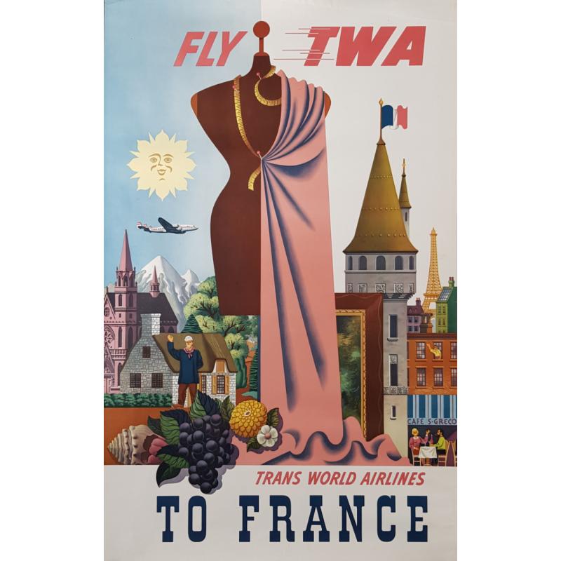 Original vintage poster TWA France GRECO