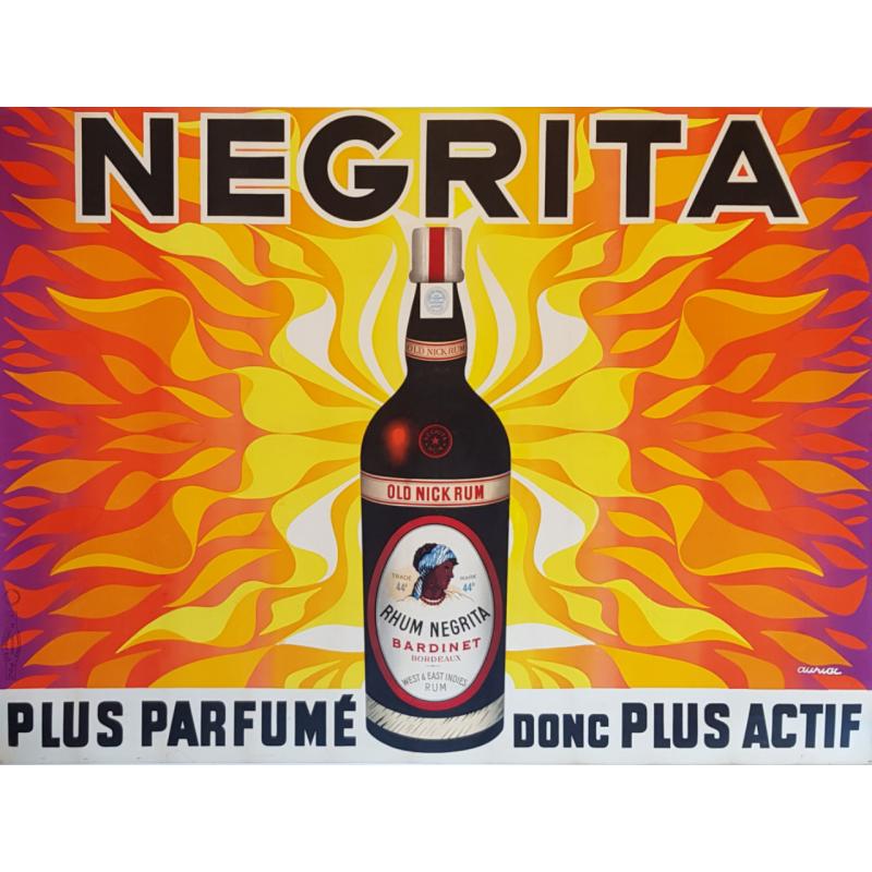 Affiche ancienne originale Rhum Negrita Plus Parfumé Auriac