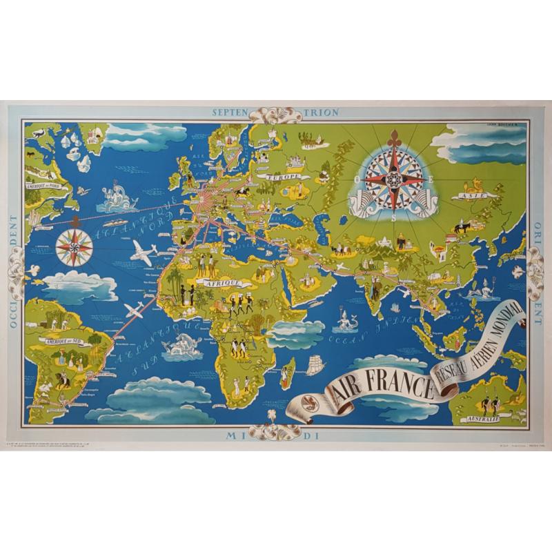 Affiche ancienne originale Air France Planisphère Bleue et Verte Lucien BOUCHER