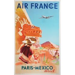 Affiche ancienne originale Air France Paris Mexico PROUT