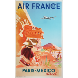 Original vintage poster Air France Paris Mexico PROUT