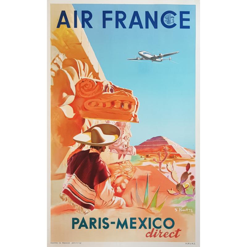 Original vintage poster Air France Paris Mexico PROUT