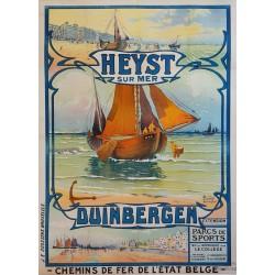 Affiche ancienne originale Heyst sur Mer Duinbergen Chemins fer Belge