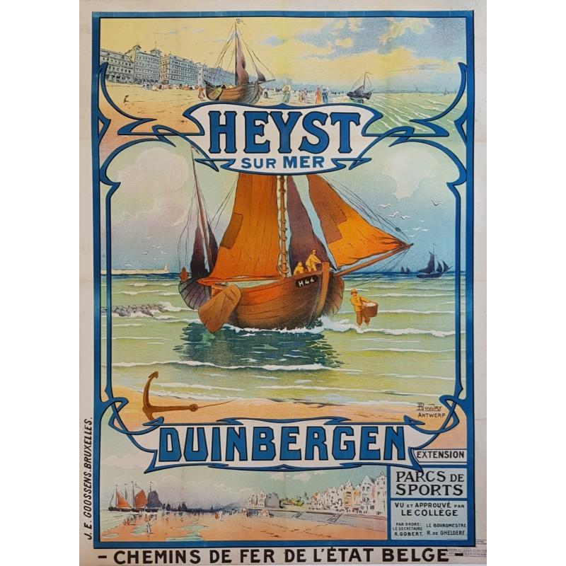 Original vintage poster Heyst sur Mer Duinbergen Chemins fer Belge