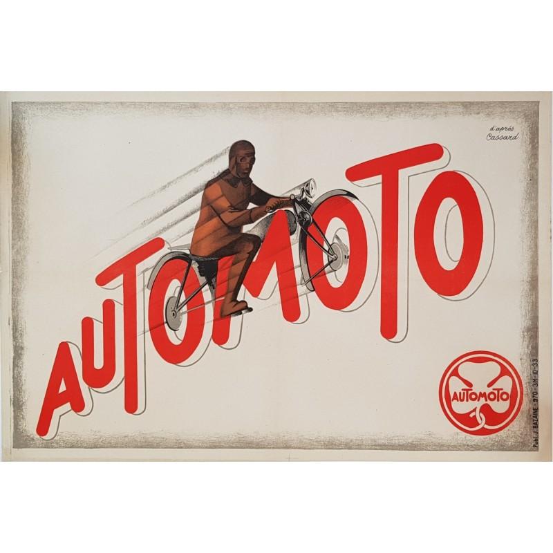 Affiche ancienne originale Automoto Artdéco d'après CASSARD