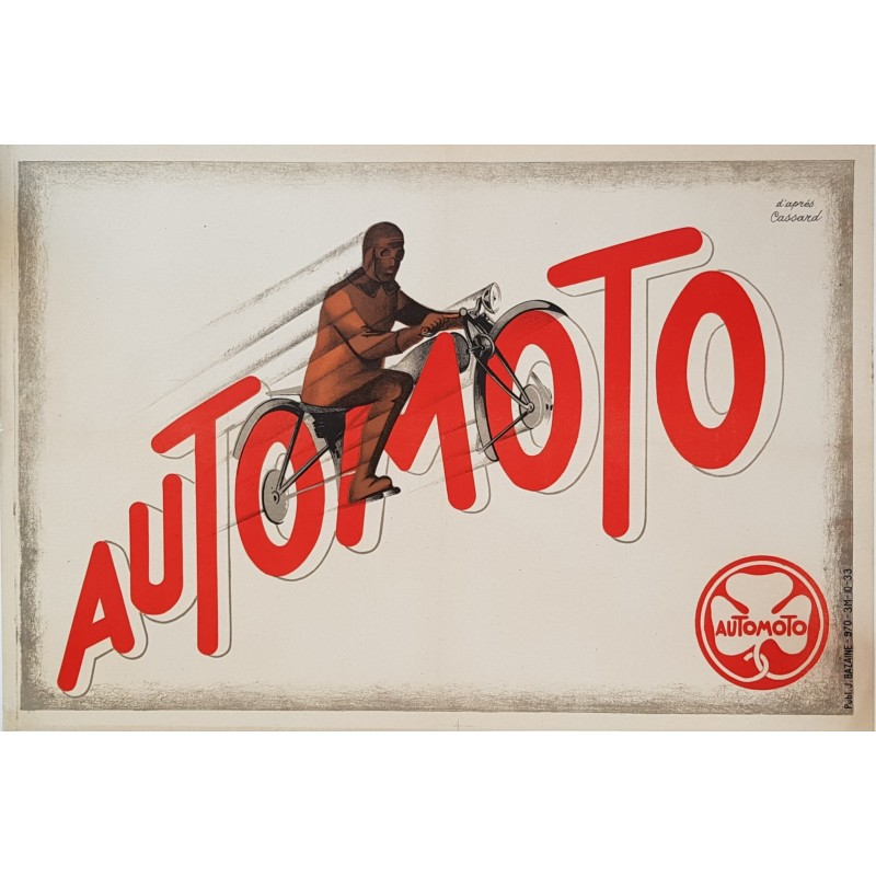 Original vintage motorcycle poster Automoto Artdeco CASSARD