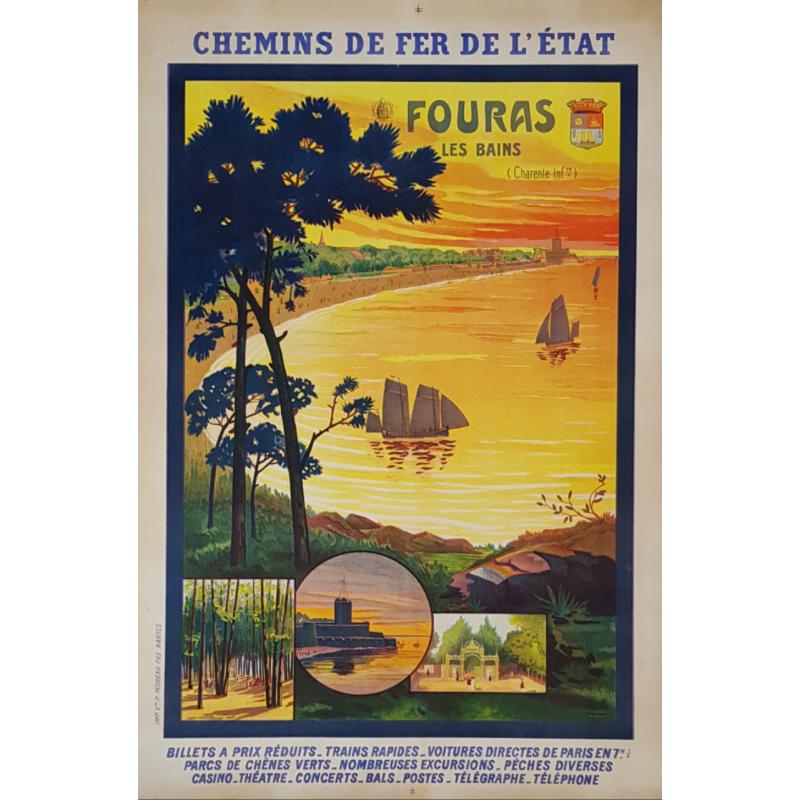 Affiche ancienne originale Fouras Les Bains Charente Perthuis