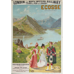 Affiche ancienne originale Ecosse, Loch Coruisk Skye, London and North western railway