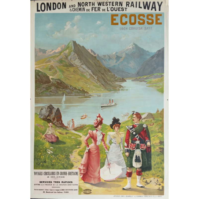 Affiche ancienne originale Ecosse, Loch Coruisk Skye, London and North western railway