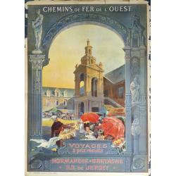 Affiche originale Normandie Bretagne Ile de Jersey Voyages à prix réduits