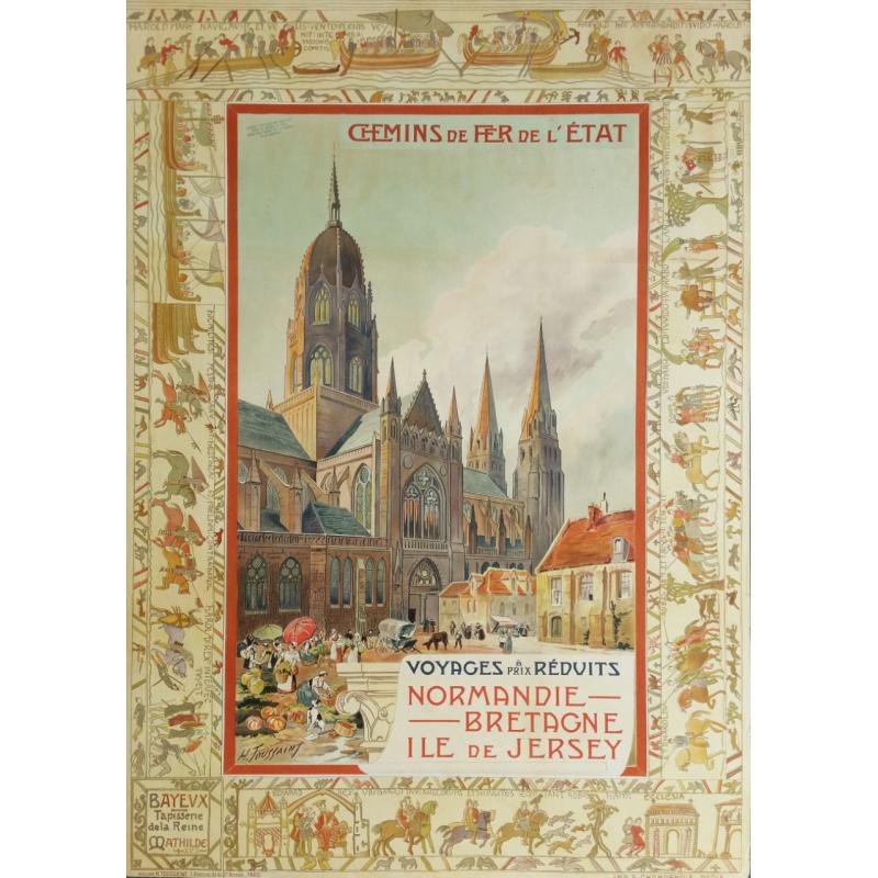 Affiche originale Voyages à prix réduits Bayeux tapisserie de la reine Mathilde