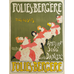 Original vintage poster Folies Bergères American sing and dancer - Maurice BIAIS