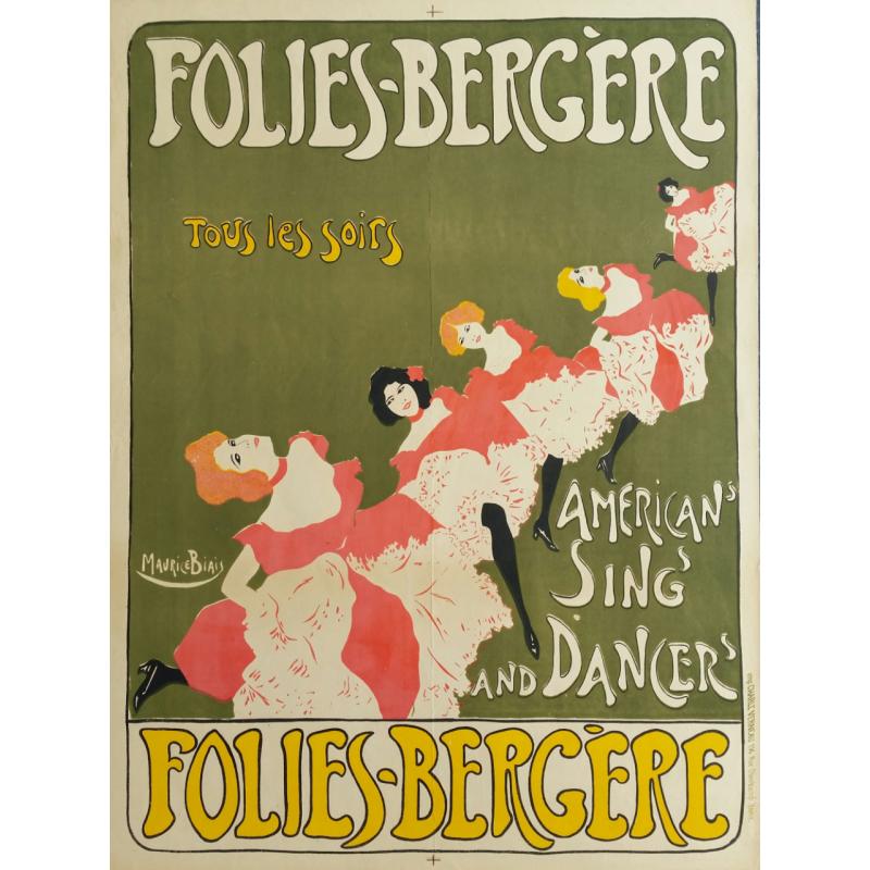 Affiche originale Folies Bergères American sing and dancer - Maurice BIAIS