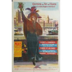 Affiche originale chemins de fer de l'Ouest et de London Brighton & South Ooast - NAULEZ
