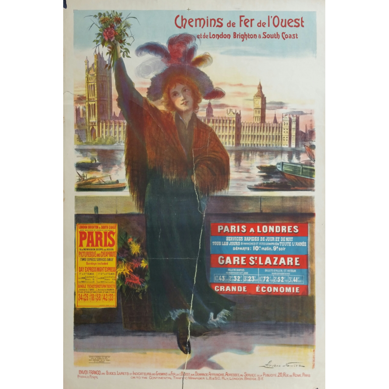 Original vintage poster chemins de fer de l'ouest et de london brighton & south coast - NAULEZ