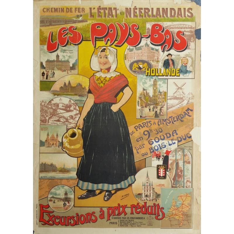 Affiche originale Les Pays Bas  hollande  Chemin de fer néerlandais - Henri GRAY
