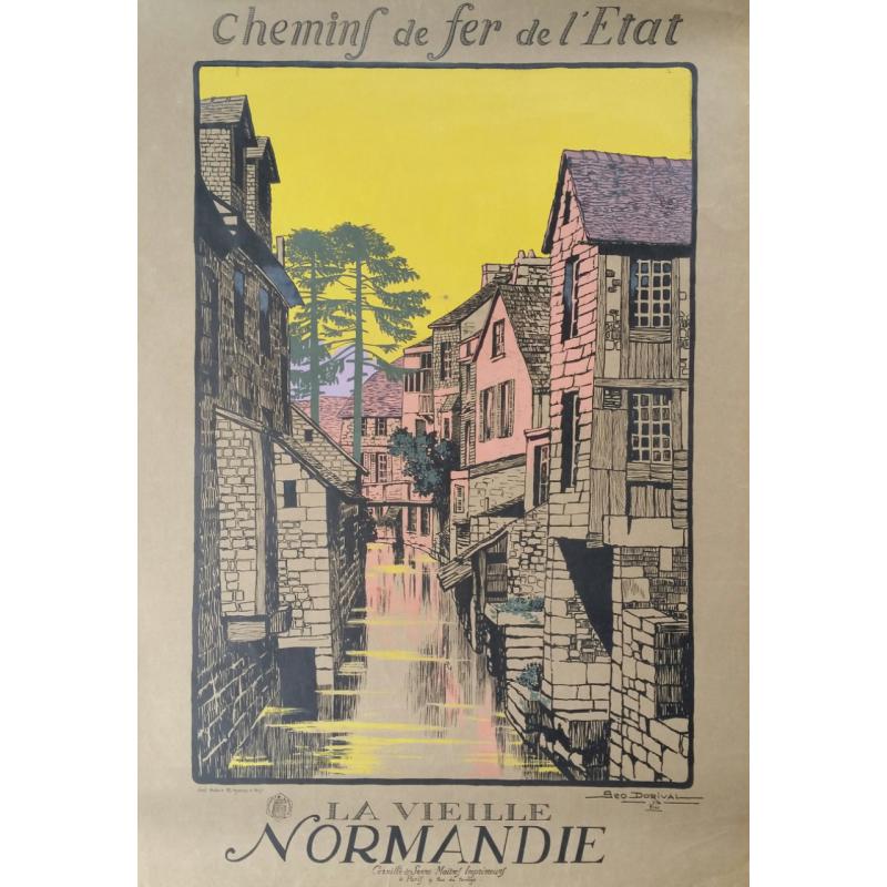 Affiche originale La vieille Normandie - Geo DORIVAL