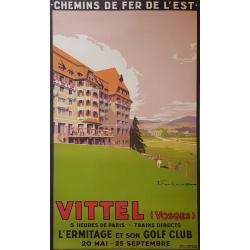 Affiche originale Vittel L'ermitage Golf  chemin de fer de l'est  Vosges - Julien LACAZE