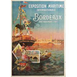 Affiche originale exposition maritme internationale Bordeaux 1907 - PONCHIN