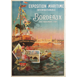 Original vintage poster exposition maritme internationale Bordeaux 1907 - PONCHIN