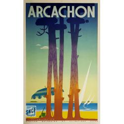 Affiche ancienne originale Arcachon 1948 Jean Adrien MERCIER