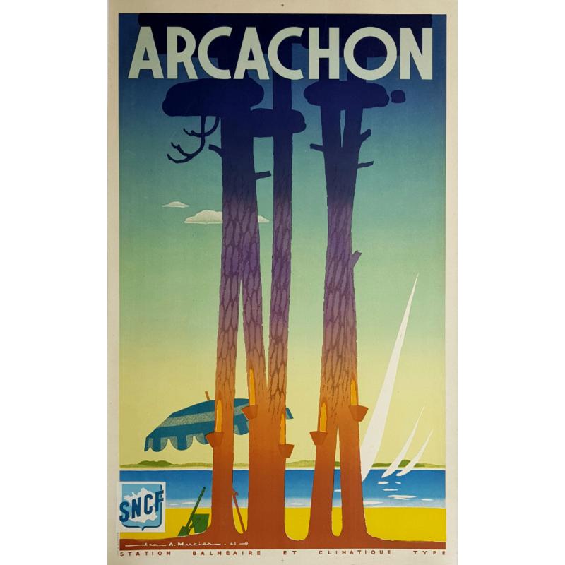 Original vintage poster Arcachon 1948 Jean Adrien MERCIER