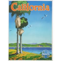 Affiche ancienne originale California Santa Fe Oscar M. BRYN