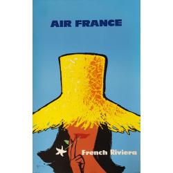 Affiche ancienne originale Air France French riviera GRUAU