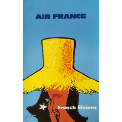 Original vintage poster Air France French riviera GRUAU