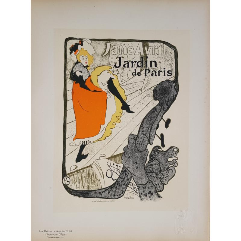Maîtres de l'Affiche Original PLate 110 Jane Avril Jardin de Paris TOULOUSE LAUTREC