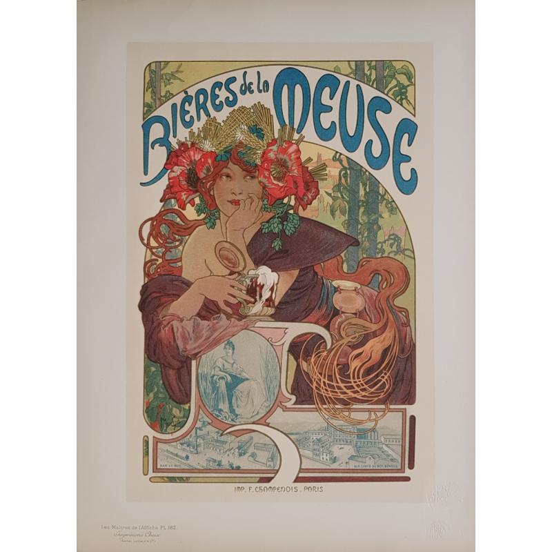 Maîtres de l'Affiche Original PLate 182 Bières de la Meuse Alfonse MUCHA