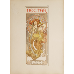 Documents Décoratifs Original PLate 14 Nectar Liqueur Superfine Alfonse MUCHA