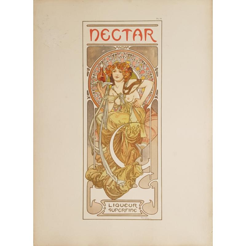 Documents Décoratifs Original PLate 14 Nectar Liqueur Superfine Alfonse MUCHA