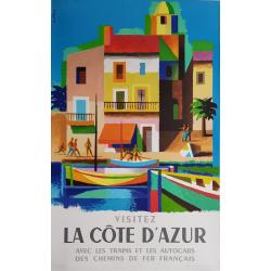 Affiche ancienne originale Visitez la côte d'Azur Jacques NATHAN