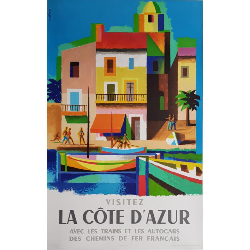 Original vintage poster Visitez la côte d'Azur Jacques NATHAN