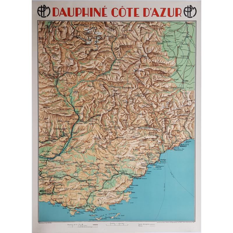 Affiche ancienne originale PLM Dauphiné Côte d'Azur Jean DOLLFUS