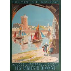Affiche ancienne originale Les Sables D'Olonne Maurice PERRONNET