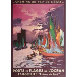 Affiche ancienne originale La Rochelle Entrée du Port CHAMPSEIX