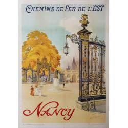 Affiche ancienne originale Nancy Chemin de Fer de l'Est TOUSSAINT