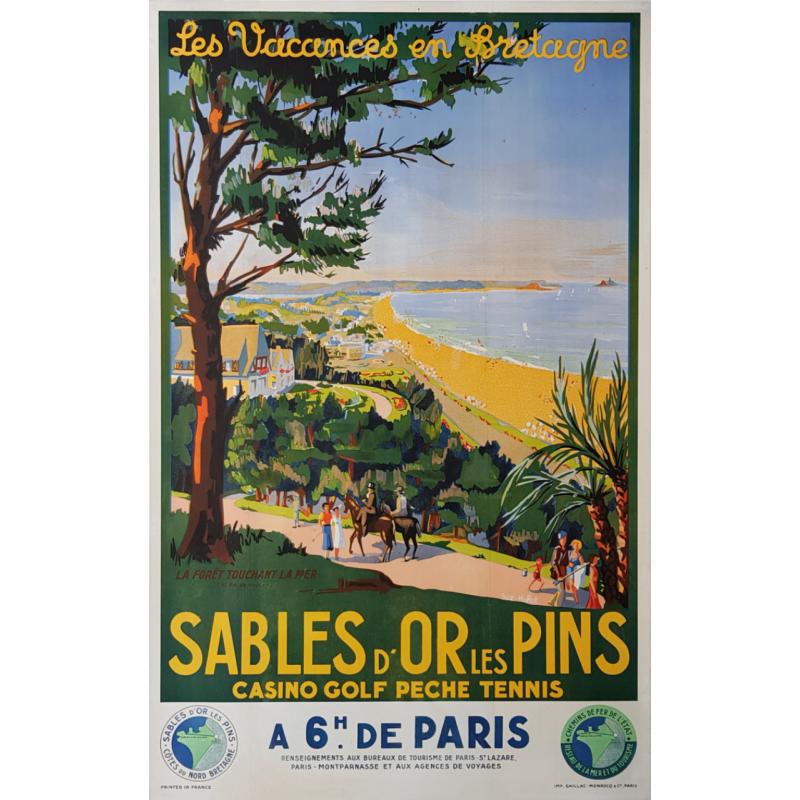 Affiche ancienne originale Sables d'Or les Pins Bretagne HULOT