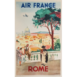 Affiche ancienne originale Air France Rome Yves BRAYER