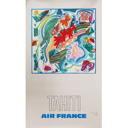 Affiche ancienne originale Air France TAHITI PAGES Raymond