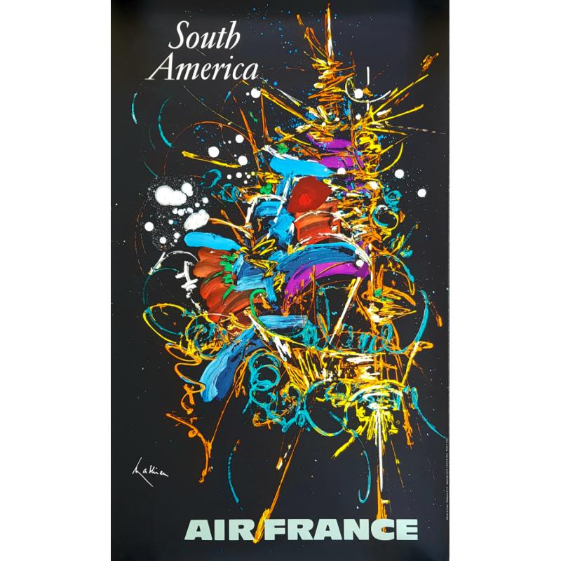 Affiche ancienne originale Air France South America Georges MATHIEU