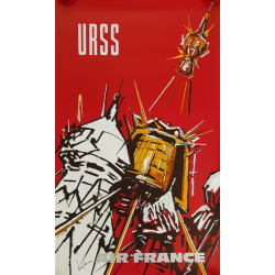 Affiche ancienne originale Air France URSS Georges MATHIEU