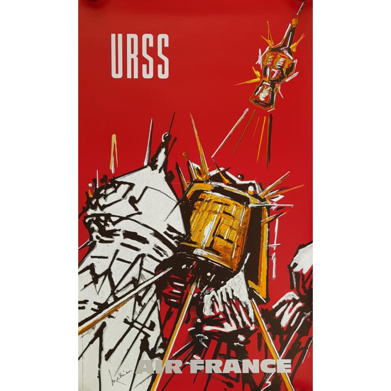 Affiche ancienne originale Air France URSS Georges MATHIEU
