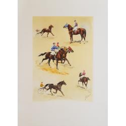 Original PLate horse racing scenes Jean RIVET