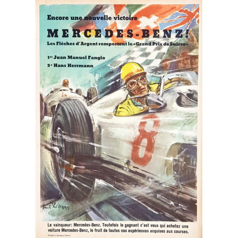 Affiche ancienne originiale Nouvelle Victoire Mercedes Benz FANGIO Hans LISKA