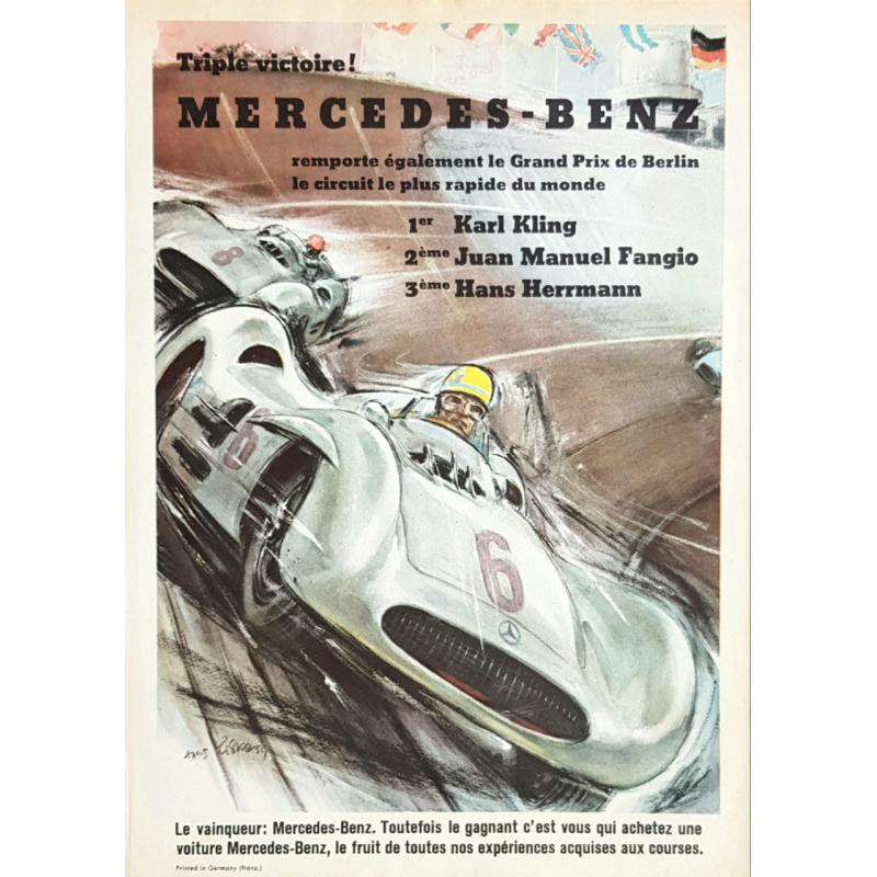 Affiche ancienne originiale Triple Victoire Mercedes Benz Hans LISKA