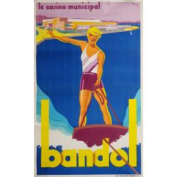 Affiche ancienne originale Bandol Casino Municipal André BERMOND
