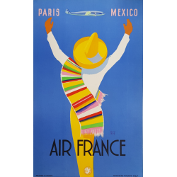 Affiche ancienne originale Air France PARIS MEXICO Edmond MAURUS